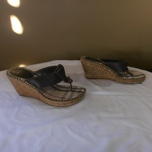 Burberry Shoes - Burberry Wedge Leather & Nova Check Insole Sandals